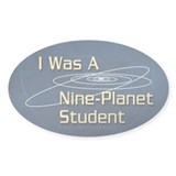 Nine-Planet Pluto Oval Decal