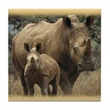 Cute Rhinoceros Tile Coaster