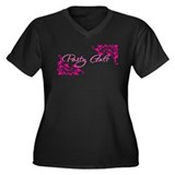 Party Gals Swirls Women's Plus Size V-Neck Dark T-