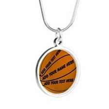 Basketball Silver Round Necklace