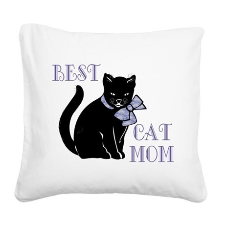 Best Cat Mom Square Canvas Pillow