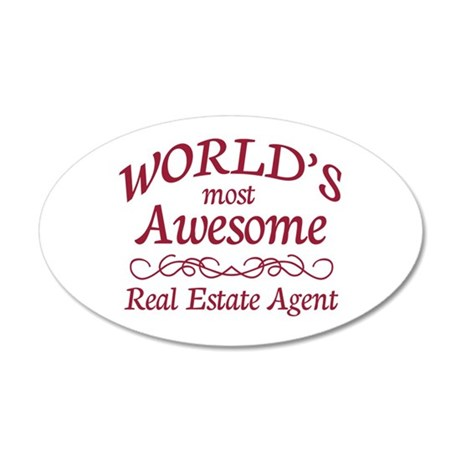 Awesome Real Estate Agent 35x21 Oval Wall Decal