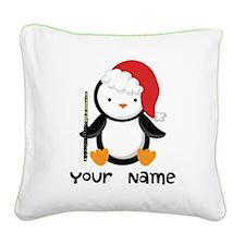 Personalized Flute Penguin Square Canvas Pillow