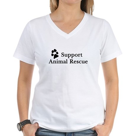 Support Animal Rescue Women's V-Neck T-Shirt