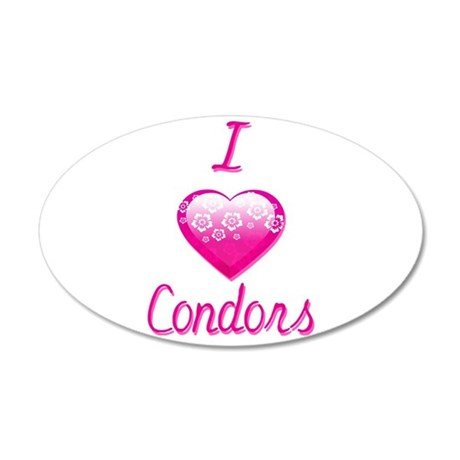I Love/Heart Condors 20x12 Oval Wall Decal