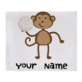 Personalized Volleyball Monkey Throw Blanket