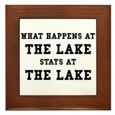 Happens At Lake Framed Tile