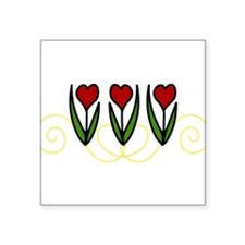 "Red Tulips Square Sticker 3"" x 3"""