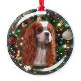 Blenheim Cavalier Christmas Background Ornament