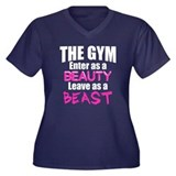 Leave beast Women's Plus Size V-Neck Dark T-Shirt