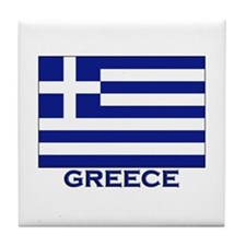 Greece Flag Merchandise Tile Coaster