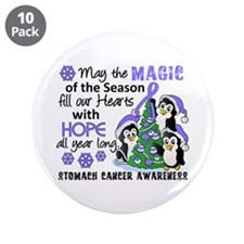 "Holiday Penguins Stomach Cancer 3.5"" Button (10 pa"
