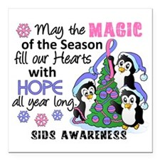 "Holiday Penguins SIDS Square Car Magnet 3"" x 3"""