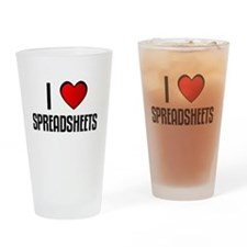 Cute I love spreadsheets Drinking Glass