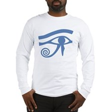 Blue Eye of Horus Hieroglyphic Long Sleeve T-Shirt