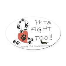 Pets Fight Too (Dachshund) Oval Car Magnet