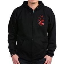 Red Awareness Ribbon Zip Hoodie