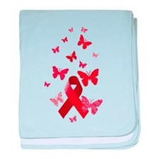 Red Awareness Ribbon baby blanket