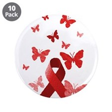 "Red Awareness Ribbon 3.5"" Button (10 pack)"
