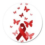 Red Awareness Ribbon Round Car Magnet