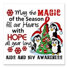 """Holiday Penguins AIDS and HIV Square Car Magnet 3"""""""