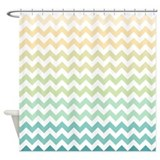 Beachy Chevron Stripes Shower Curtain