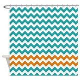 Turquoise and Orange Chevron Stripes Shower Curtai