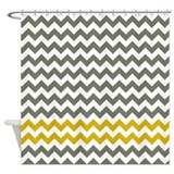 Gray and Yellow Chevron Stripes Shower Curtain