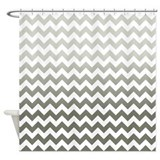 Gray Ombre Chevron Stripes Shower Curtain