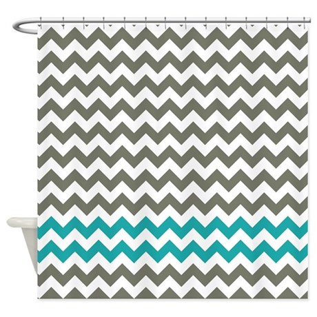Gray And Turquoise Chevron Stripes Shower Curtain By LittleBugDesigns