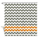 Gray and Orange Chevron Stripes Shower Curtain