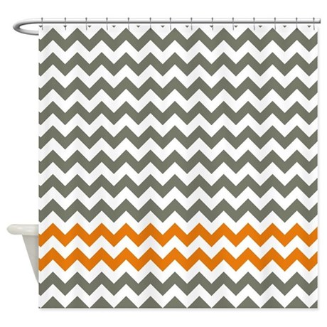 Gray And Orange Chevron Stripes Shower Curtain By