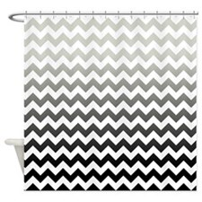 Gray and Black Ombre Chevron Stripes Shower Curtai