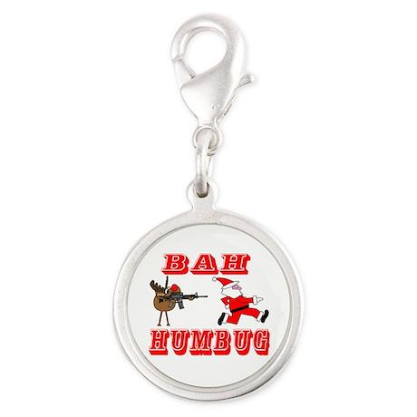 Bah Humbug Silver Round Charm