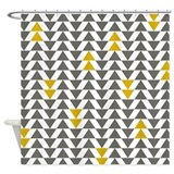Gray and Yellow Triangles Shower Curtain