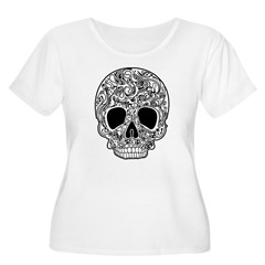 Psychedelic Skull White Women's Plus Size Scoop Ne