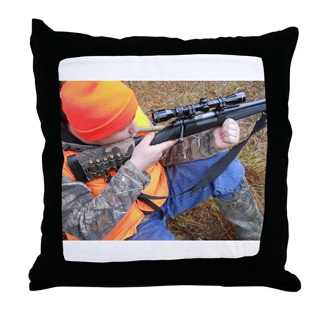 Hunter Aiming Throw Pillow