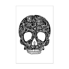 Psychedelic Skull Black Mini Poster Print