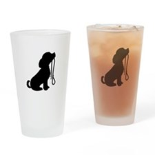 Dog and Leash Drinking Glass