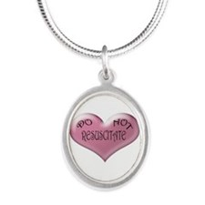 Do not Resuscitate Pink Heart Silver Oval Necklace