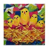 Funny Bird nests Tile Coaster