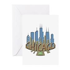 Chicago Skyline Newwave Beachy Greeting Cards (Pk