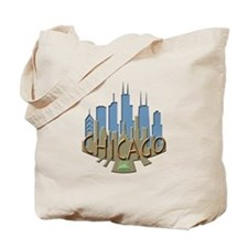Chicago Skyline Newwave Beachy Tote Bag