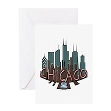 Chicago Skyline Newwave Chocolate Greeting Card