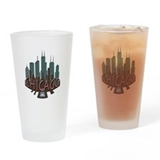 Chicago Skyline Newwave Chocolate Drinking Glass