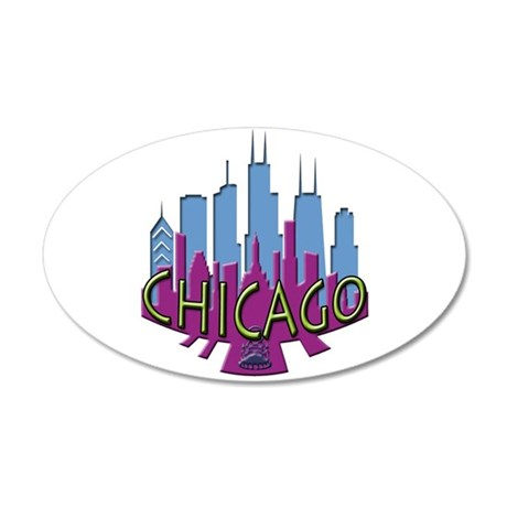 Chicago Skyline Newwave Cool 35x21 Oval Wall Decal