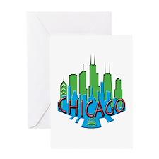 Chicago Skyline Newwave Primary Greeting Card