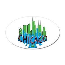 Chicago Skyline Newwave Primary 35x21 Oval Wall De