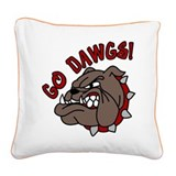 Go Dawgs Square Canvas Pillow