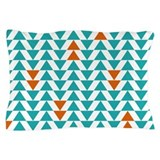 Triangles - Turquoise Orange Pillow Case